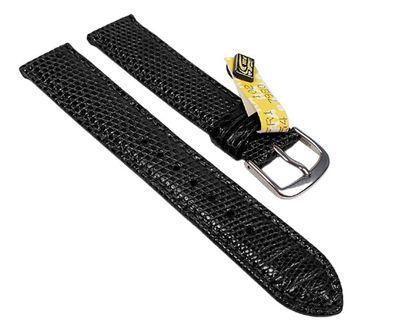 Manhattan Ersatzband Uhrenarmband Echt Eidechsenleder schwarz 23422S – Bild 1