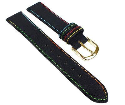 Kids Ersatzband Uhrenarmband Nylon Wasserfest schwarz mit Regenbogen-Naht 23456G