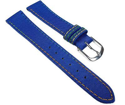 Kids Ersatzband Uhrenarmband Nylon Wasserfest Blau mit Regenbogen-Naht 23465S – Bild 1
