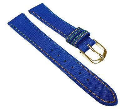 Kids Ersatzband Uhrenarmband Nylon Wasserfest Blau mit Regenbogen-Naht 23466G