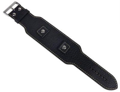 Minott Uhrenarmband Leder Lederunterlage breit schwarz 23482S – Bild 1