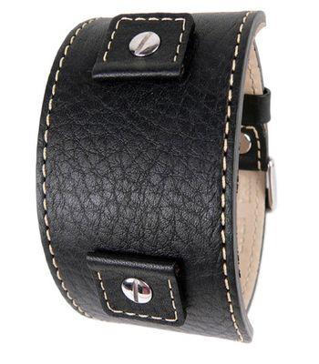 Minott Uhrenarmband Leder Lederunterlage breit schwarz 23482S – Bild 2