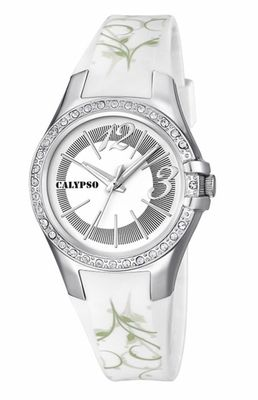 Calypso Watches K5624 Damenuhr analog mit Glitzersteinchen