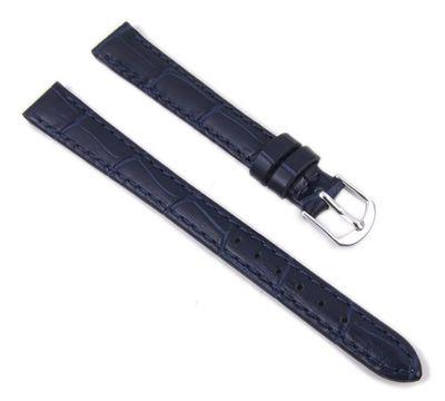 Eulit Ersatzband Uhrenarmband Leder  dunkelblau 14mm XL 23706S