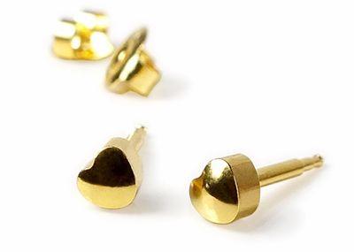 Minott Erstohrstecker Ohrschmuck Herz Ohrringe aus Edelstahl / Vergoldet 100 % Steril 23809