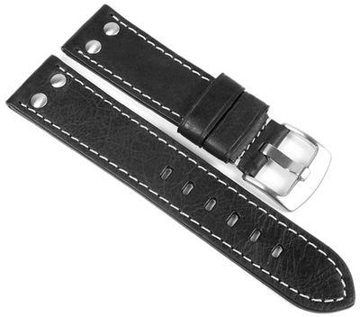 Minott Vintage Look Uhrenarmband Leder Band schwarz 24031 – Bild 1