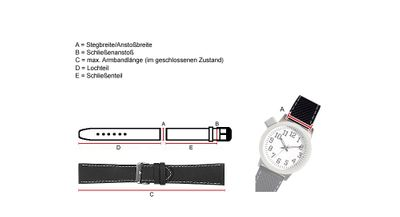 Minott Vintage Look Uhrenarmband Leder Band schwarz 24031 – Bild 2