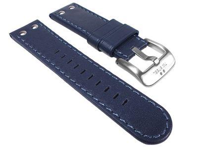 TW STEEL Marken Ersatzband Leder Band 24mm Blau für Pilot Serie TW400 - TW428
