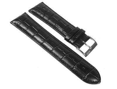 Hugo Boss Uhrenarmband Leder schwarz 24mm Krokooptik 1512385