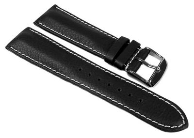 Dakar Ersatzband Uhrenarmband Walknappa schwarz mit Kontrastnaht - XL Länge 24355S – Bild 1