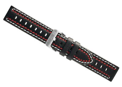 Dakota Ersatzband Uhrenarmband Leder Band - schwarz mit weiß/roter Doppelnaht 24412S – Bild 1