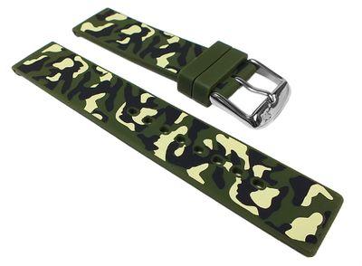 Morellato Camouflage Ersatzband Uhrenarmband Silikon Band Grün / Camouflage 24597S – Bild 1