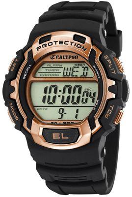 Calypso  Armbanduhr Herrenuhr Digitaluhr schwarz/roségold Chronograph 10 ATM K5573/8 – Bild 1