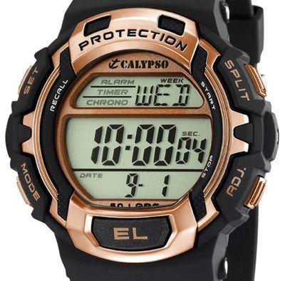 Calypso  Armbanduhr Herrenuhr Digitaluhr schwarz/roségold Chronograph 10 ATM K5573/8 – Bild 2