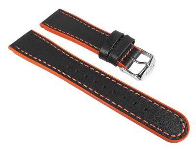 Ersatzband Leder/Kautschuk schwarz/Orange 22mm Timex T2M428 – Bild 1