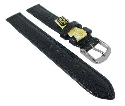 Uhrenarmband Echt Eidechse Leder schwarz  25162S-D – Bild 1