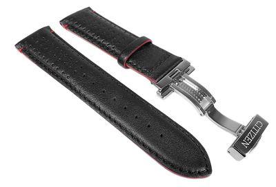 Citizen Marken Ersatzband Leder Band schwarz / Rot 23mm für Funkchrono AT9036-08E – Bild 1