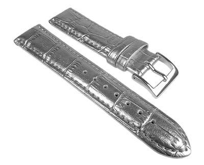Ersatzband Uhrenarmband Leder Band Silberfarben mit Kroko Prägung 25256S
