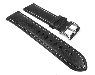 Ersatzband Uhrenarmband Leder Band schwarz 25273S