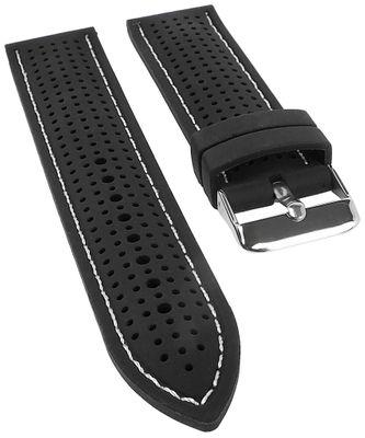 Minott | Uhrenarmband Silikon schwarz mit weißer Ziernaht 25526S