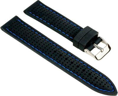 Uhrenarmband Silikon schwarz mit blauen Ziernaht Minott 25530S