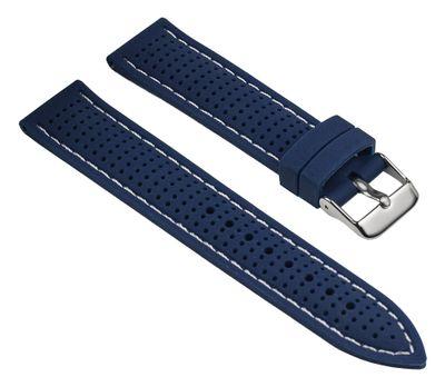 Uhrenarmband Silikon Blau mit weißen Ziernaht Minott 25531S