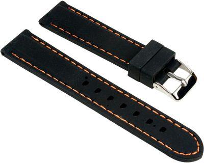 Minott Ersatzband Uhrenarmband Silikon Band schwarz glatt mit orangen Ziernaht 25535S