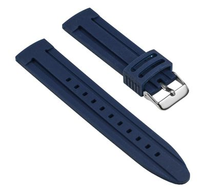 Minott Ersatzband Uhrenarmband Silikon Band Blau glatt 25538S – Bild 1
