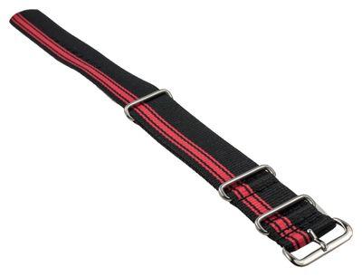 Outdor Ersatzband Uhrenarmband Textil Band Durchzugsband schwarz/Rot mit Edelstahlschlaufen 25547S