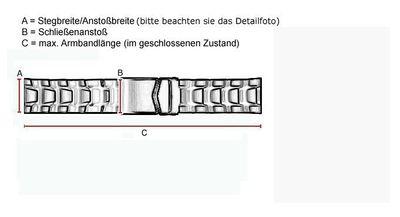ROWI Ersatzband Uhrenarmband Edelstahl HiTecGold glänzend/matt 22mm Made in Germany 25570G – Bild 3