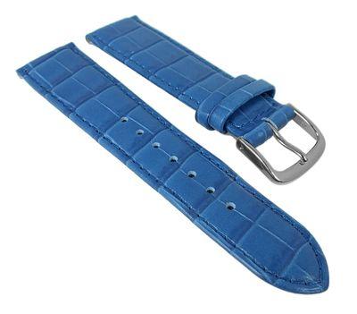 Nevada Uhrenarmband Kalbsleder Kroko-Prägung Azurblau - Kurze Länge 25677S – Bild 1