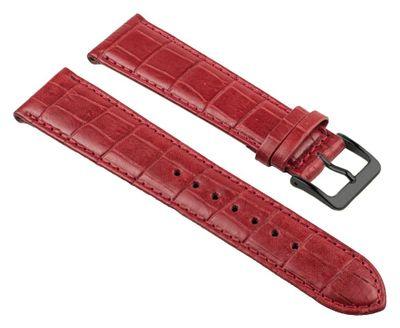 Uhrenarmband Kalbsleder Kroko-Prägung Rot Nevada 25690B – Bild 1