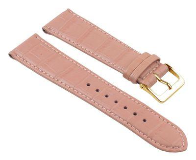 Minott Nevada Uhrenarmband Kalbsleder Kroko-Prägung Rosa 25701G