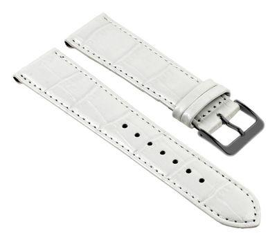 Nevada Uhrenarmband Kalbsleder Kroko-Prägung weiß 25720B – Bild 1