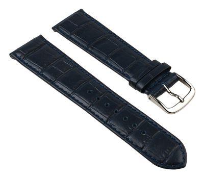 Nevada Uhrenarmband Kalbsleder Kroko-Prägung Dunkelblau 25726S