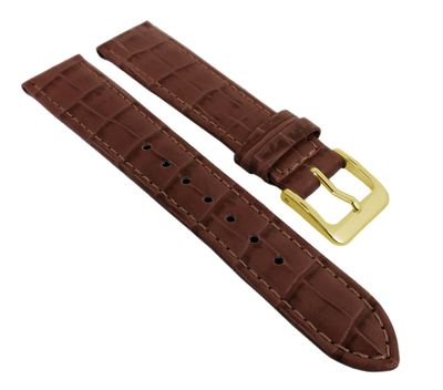 Nevada Uhrenarmband Kalbsleder Kroko-Prägung Rotbraun - Kurze Länge 25736G – Bild 1