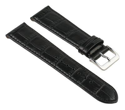 Uhrenarmband Kalbsleder Kroko-Prägung schwarz Nevada 25751S – Bild 1