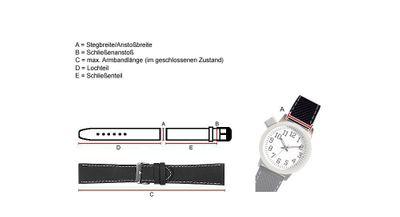 Nevada Uhrenarmband Kalbsleder Kroko-Prägung schwarz - Kurze Länge 25762B – Bild 2