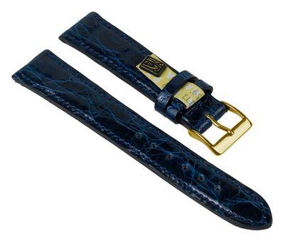 Uhrenarmband XL Echt Krokodil Leder Blau 25914G-HXL – Bild 1