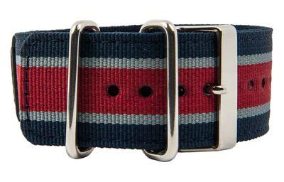 Ersatzband Textil Blau-Grau-Rot mit Unterlage für Casio G-Shock GA-100MC 10450840 – Bild 1