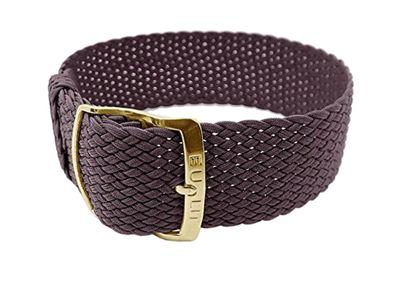 Uhrenarmband geflochten Perlon Textil Braun Panama 26626