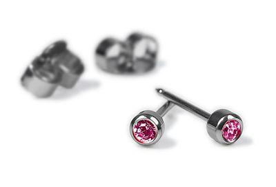 Erstohrstecker Rund Pink Ø 4mm Edelstahl Silberfarben 100% Steril
