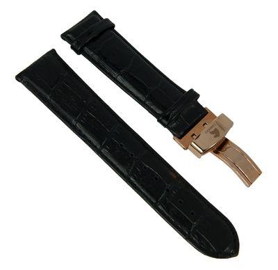 Ersatzband echt Leder Krokoprägung 23mm schwarz Carucci 27551R – Bild 1