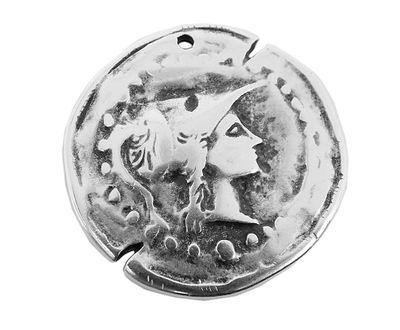 Anhänger Medallion Messing versilbert im Used Look Minott 27932 – Bild 1