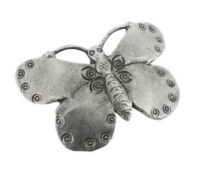 Anhänger Schmetterling Messing versilbert im Used Look Minott 27957