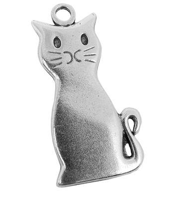 Anhänger Katze Messing versilbert im Used Look Minott 27969