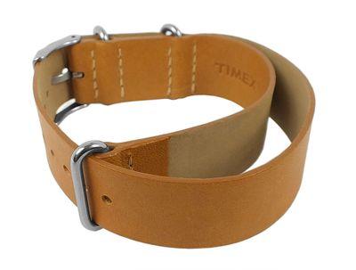 Ersatzband Leder hellbraun 20mm für Timex T2P492 T2P494 – Bild 2