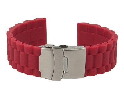 Minott | Uhrenarmband Silikon rot mit Faltschließe 28204S – Bild 2