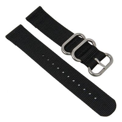Uhrenarmband Textil schwarz Metallschlaufen Zulu-Band 28208S