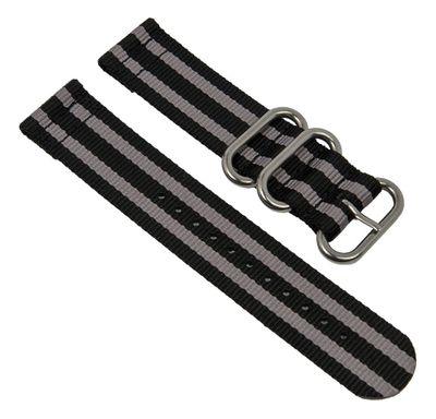 Uhrenarmband Textil schwarz/grau Metallschlaufen Minott 28238S